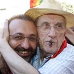 20/7/06 genova.piazza alimonda. quinto anniversario della morte di carlo giuliani durante gli scontri del G8. don vitaliano e don gallo. - foto luca zennaroansa -